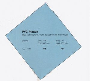 PVC-Platte 600x500x1,0 mm blau transparent